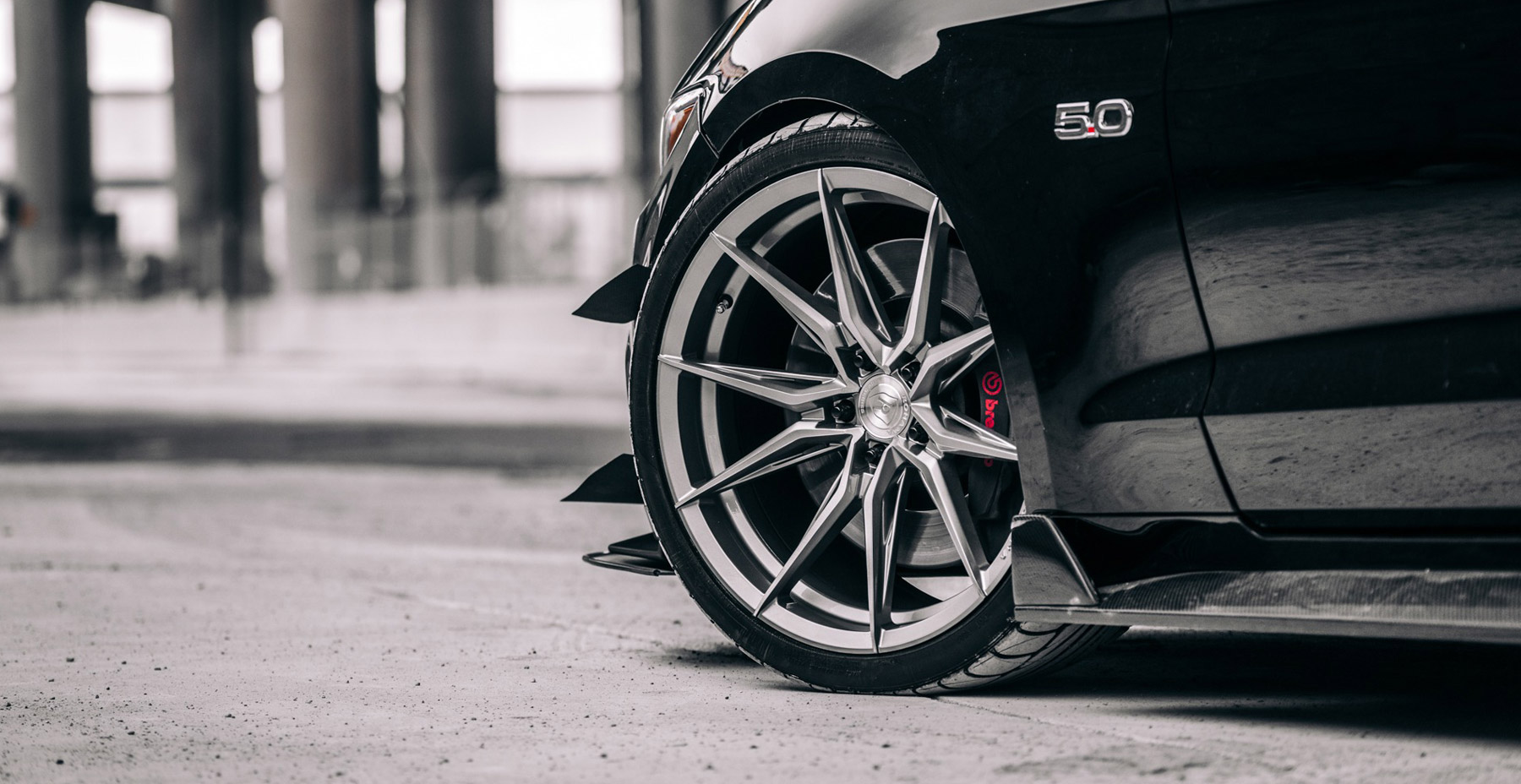 Black Ford Mustang x Rohana RFX13 Wheels (Finished in Brushed Titanium)