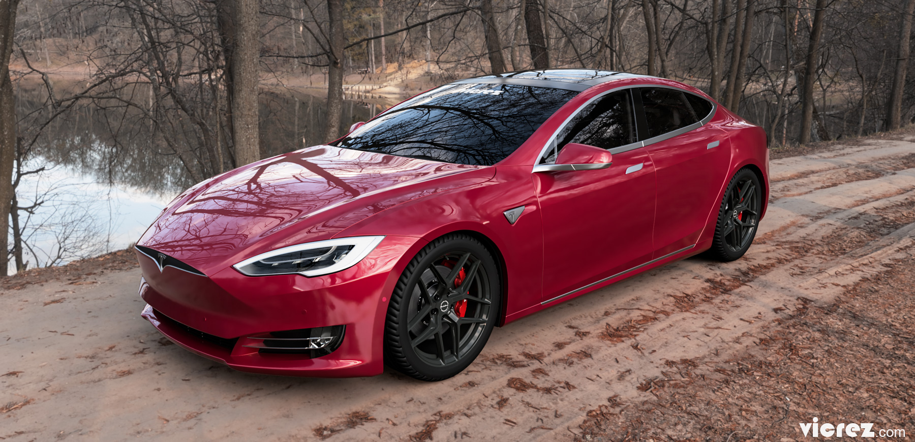 Red Tesla Model S x Brixton Forged RF7 (Finished in Satin Black) vzn100185