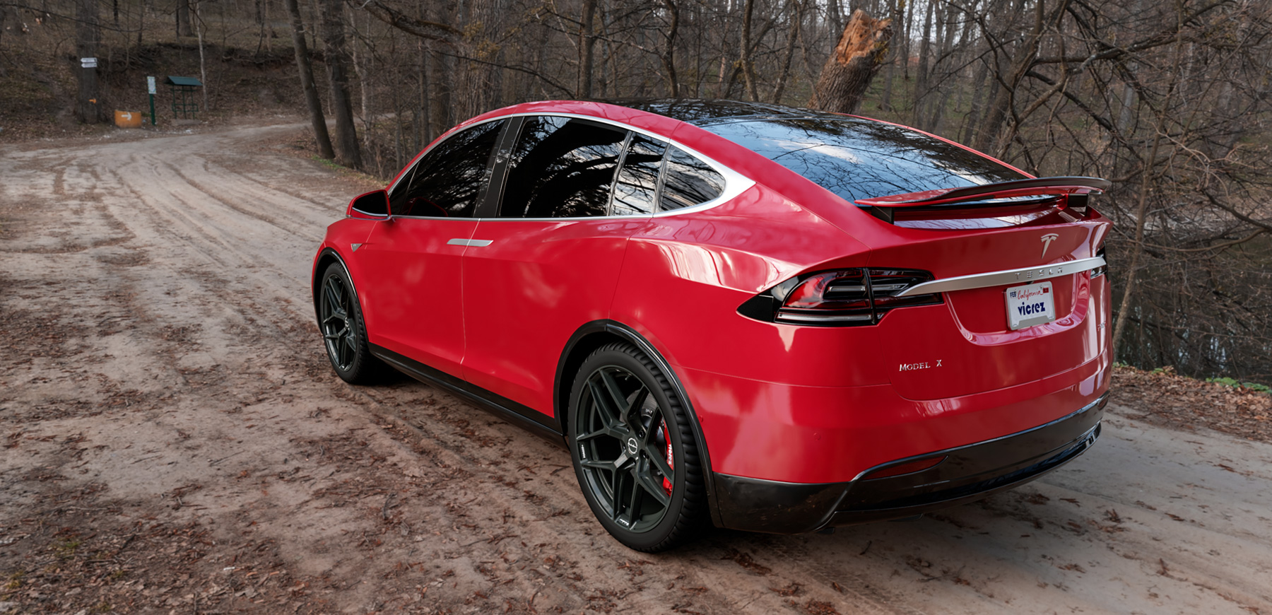 Red Tesla Model X x Brixton Forged RF7 (Finished in Satin Black) vzn100191