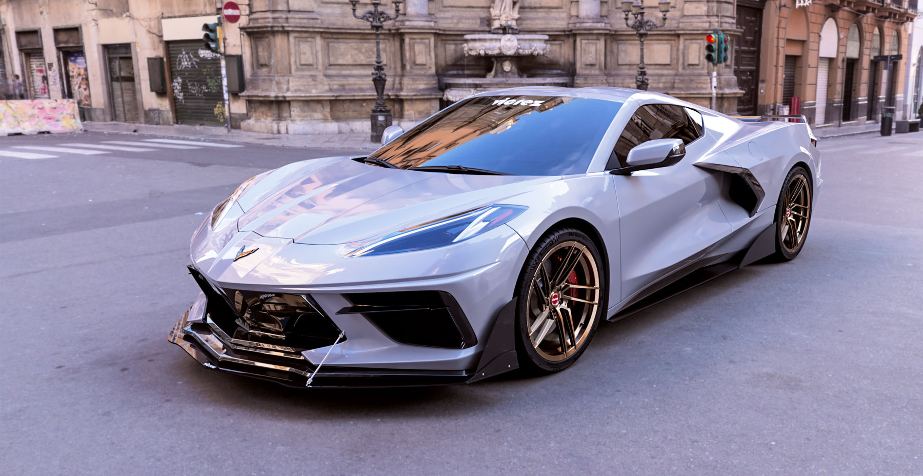 Corvette C8 x Vicrez V3F Forged Wheels  (Finished in Brushed Bronze) Palermo, Italy