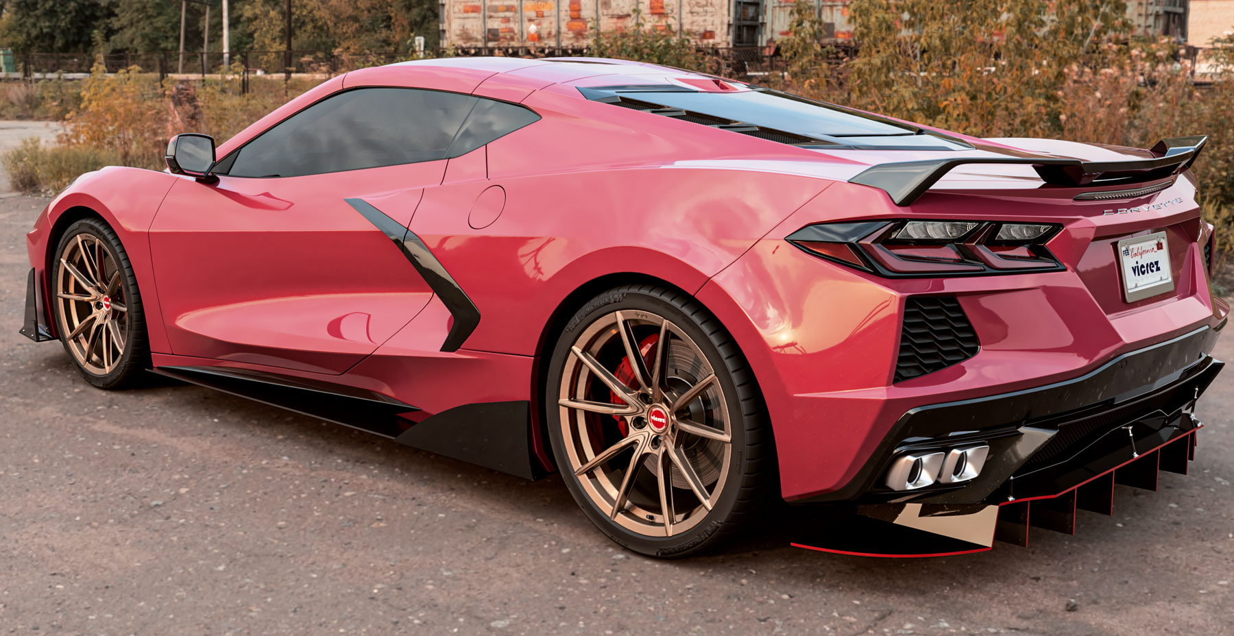 Red Corvette C8 x Vicrez VSF Forged Wheels  (Finished in Brushed Bronze)