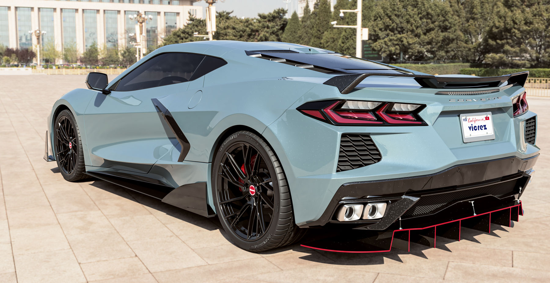 Shadow Gray Metallic Corvette C8 x Vicrez VYF Forged Wheels  (Finished in Gloss Black)