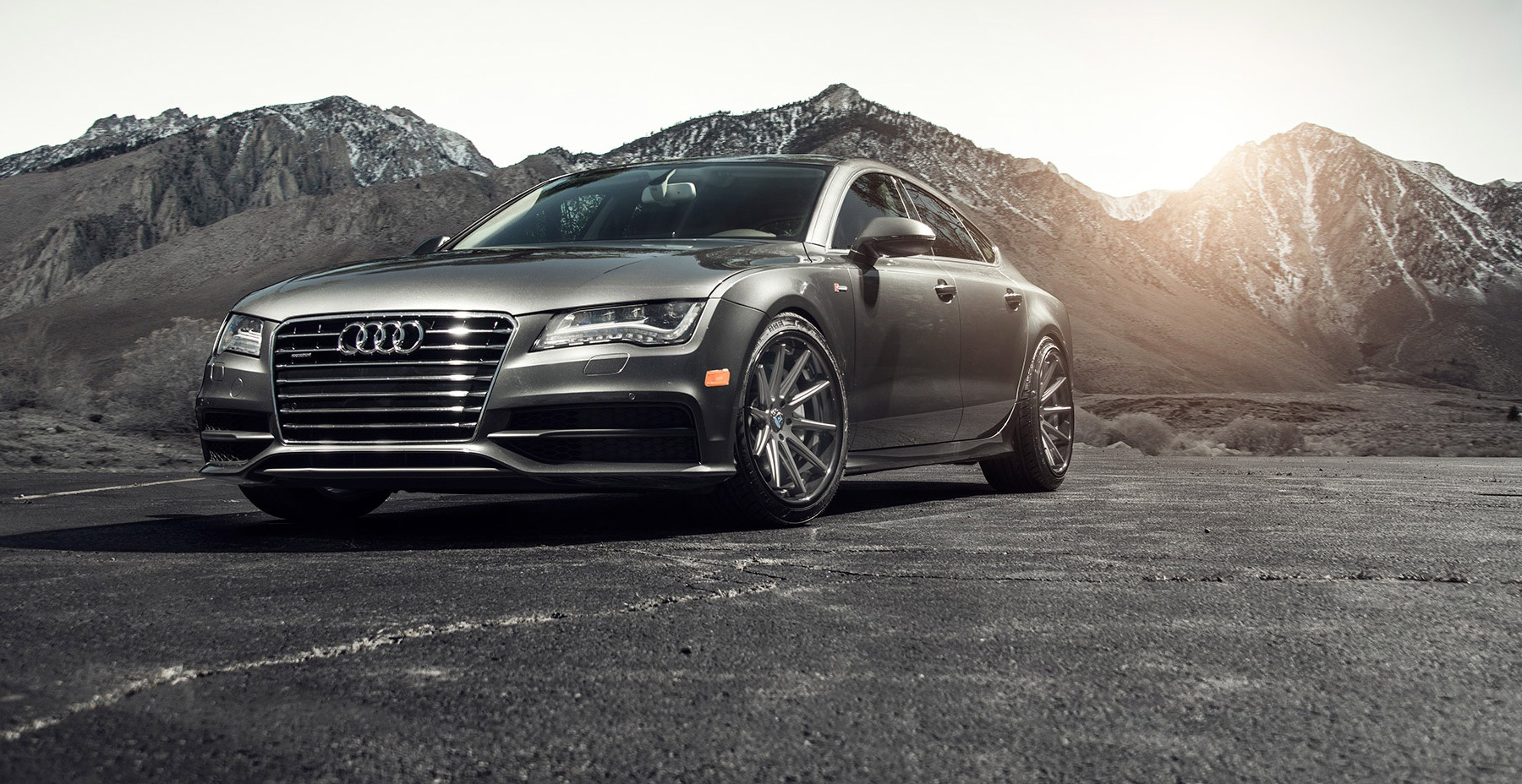 Grey Audi A7 x Rohana RC10 Wheels (Finished in Matte Graphite with Gloss Black Lip Wheel)
