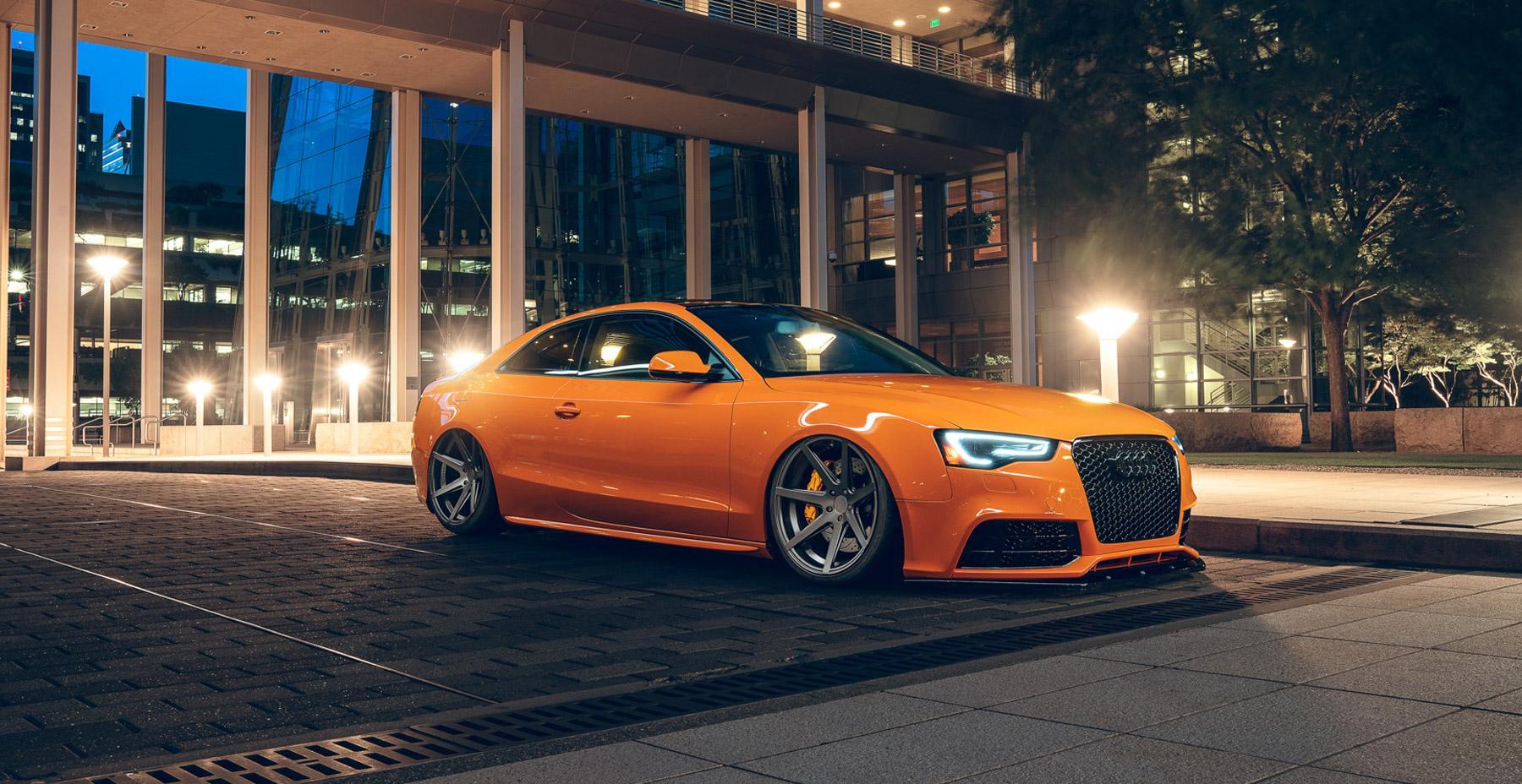 Orange Audi A5 x Rohana RC7 Wheels (Finished in Matte Graphite)
