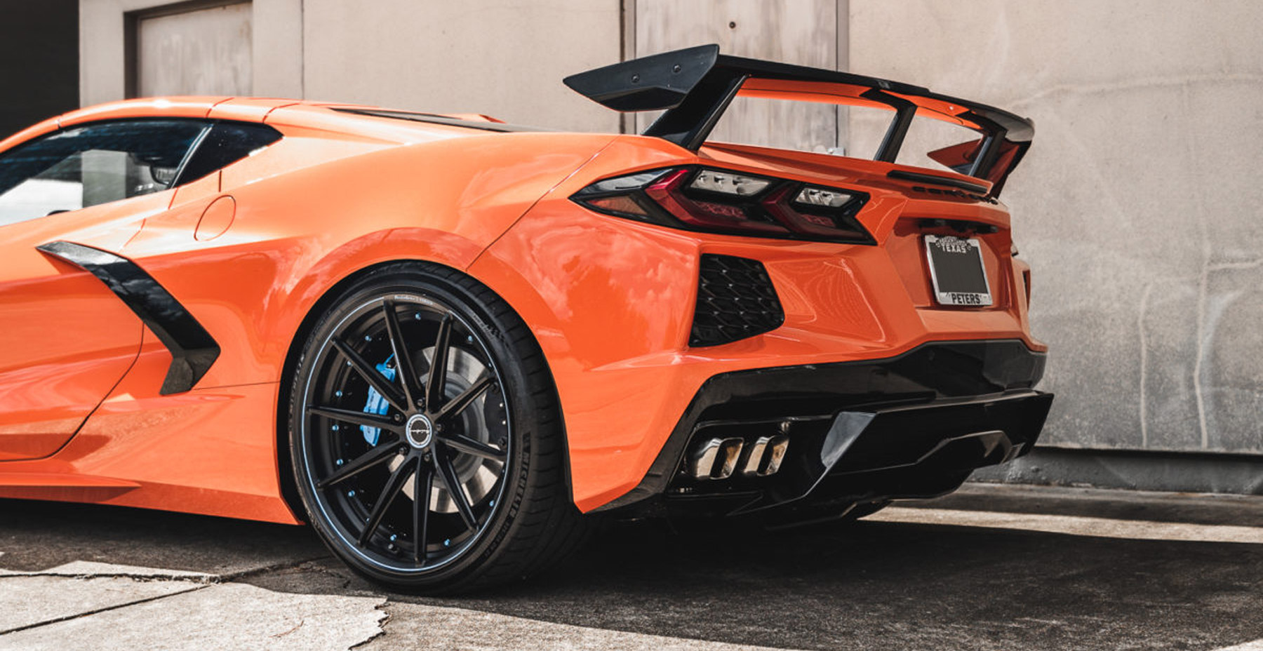 Orange Corvette C8 x Brixton R11-R Duo Series Forged Wheel Finished in Firecracker Black (Satin Clear)