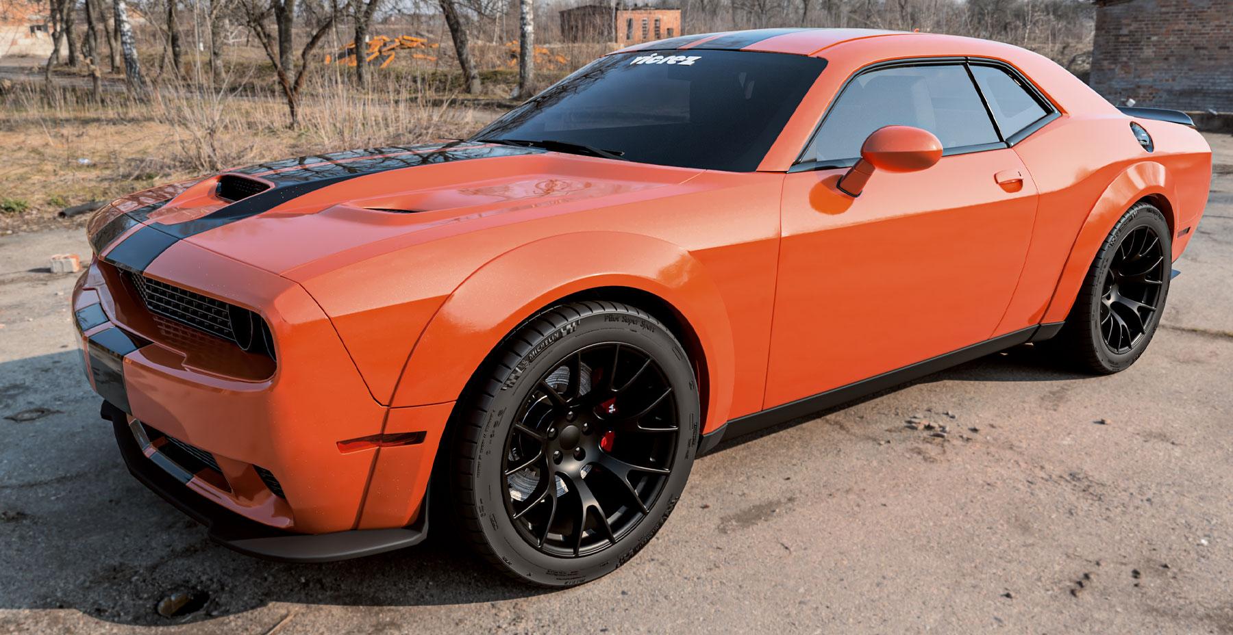 Orange Dodge Challenger Widebody x Hellcat Style Widebody Matte Black Wheel