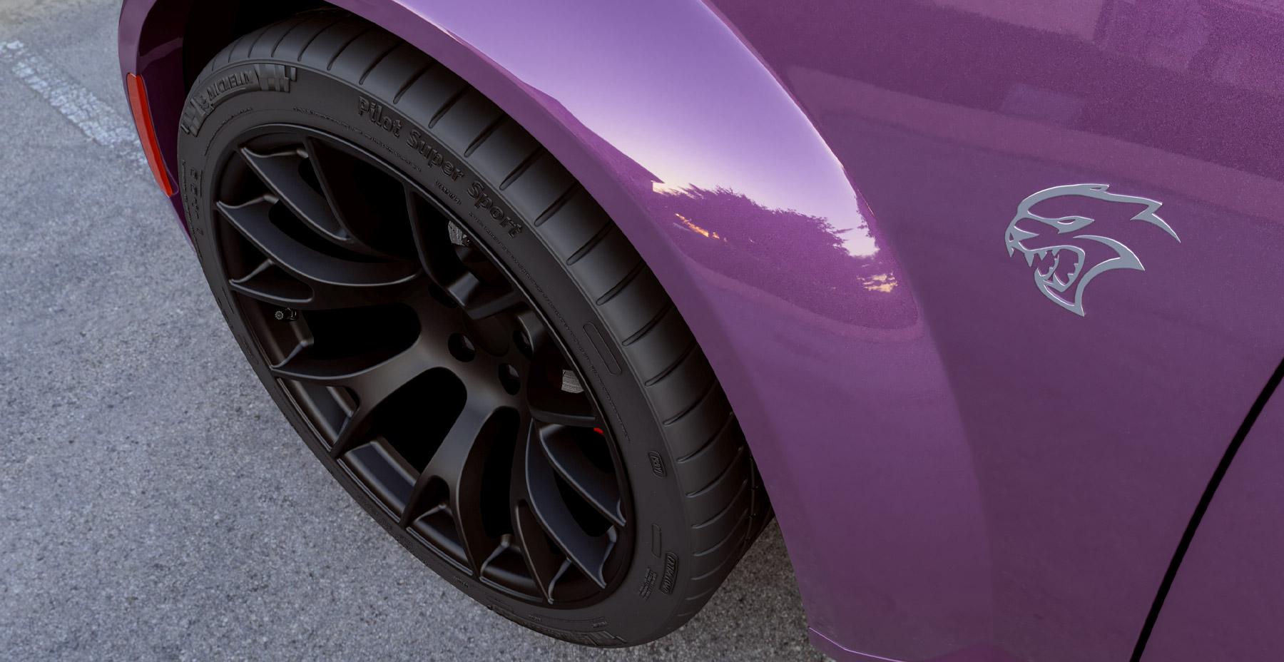 Purple Dodge Charger Widebody x Hellcat Style Widebody Matte Black Wheel