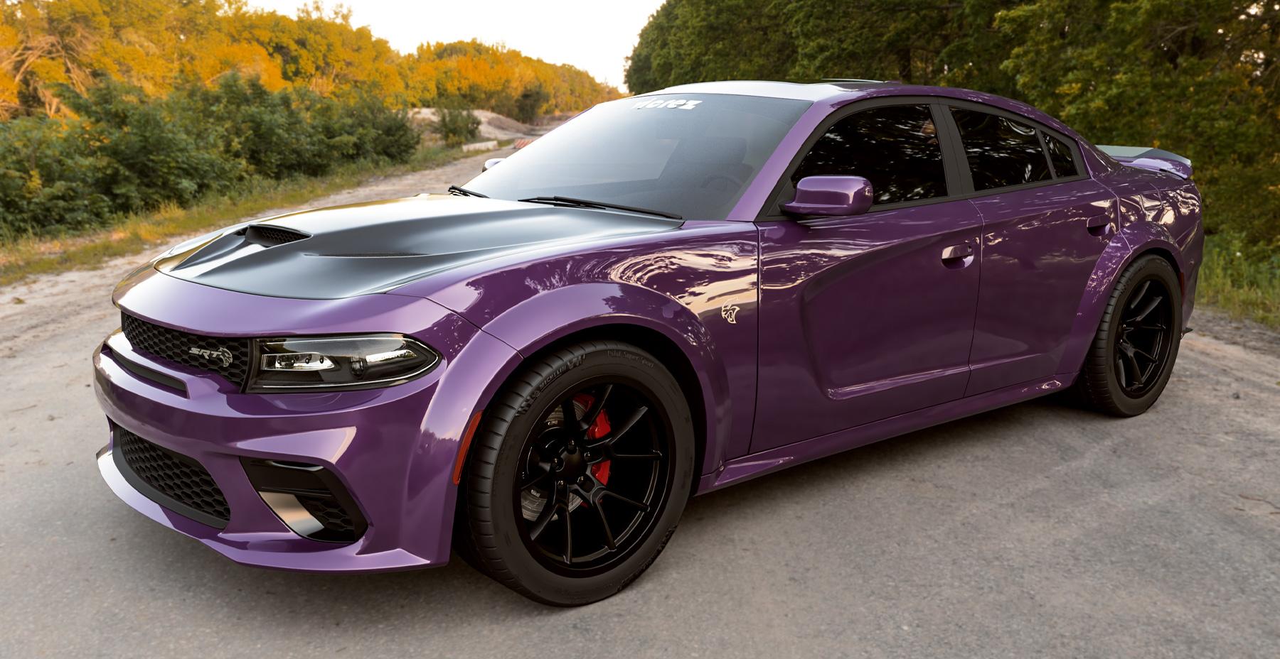 Purple Dodge Charger Widebody x Redeye Demon Style Matte Black Wheel