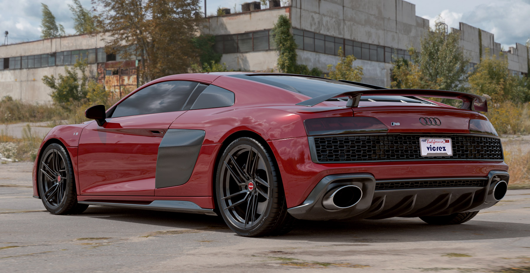 2020 Red Audi R8 x Vicrez V3F Forged Wheels  (Finished in Gloss Black)