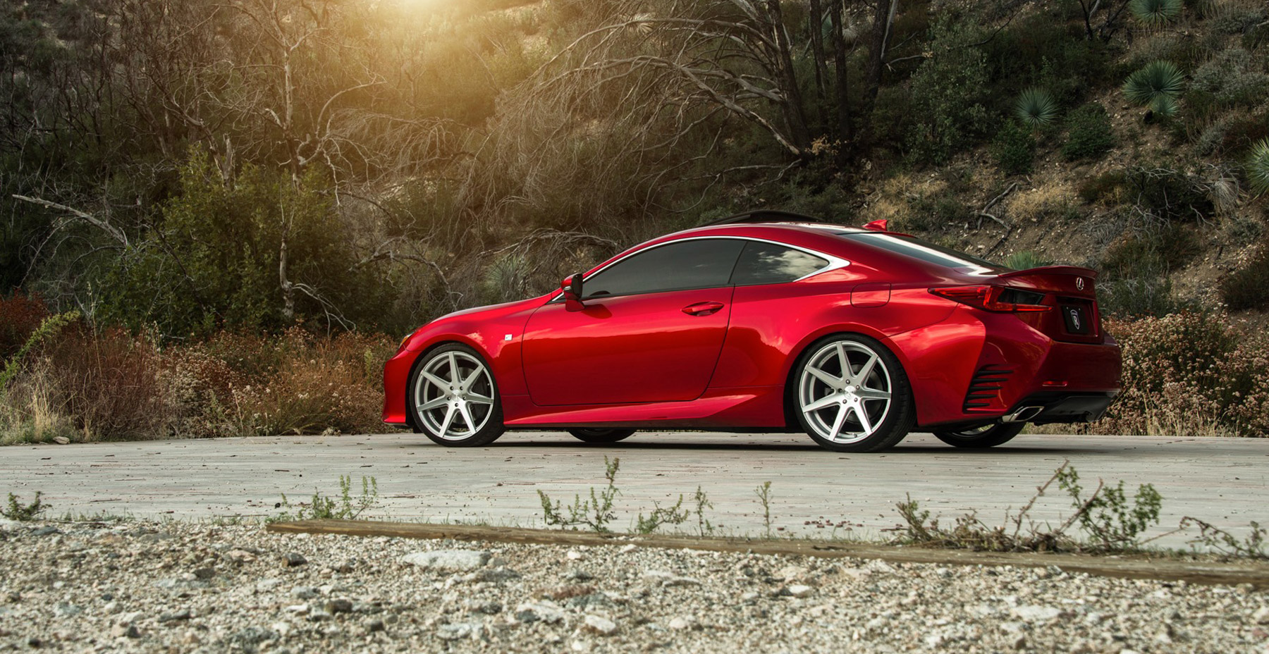 Red Lexus RC350 x Rohana RC7 Wheels (Finished in Machined Silver)