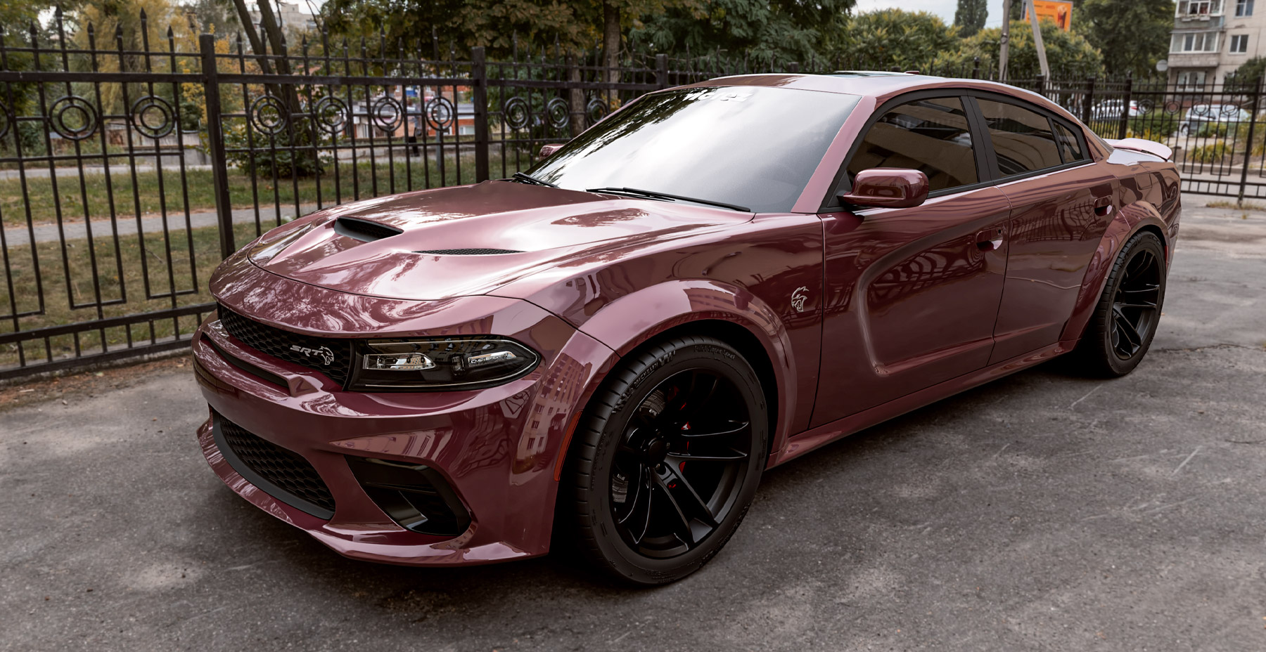 Red Octane Dodge Charger Widebody x Hellcat Widebody Style Matte Black Wheel