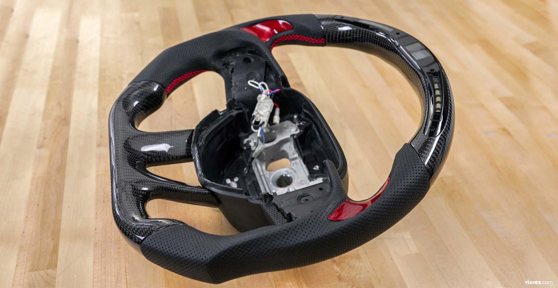 Vicrez Custom Carbon Fiber Steering Wheel +LED Dash vz101789 | Nissan 370z|Maxima|Sentra|Juke 2009 2010 2011 2012 2013 2014 2015 2016 2017 2018 2019 2020