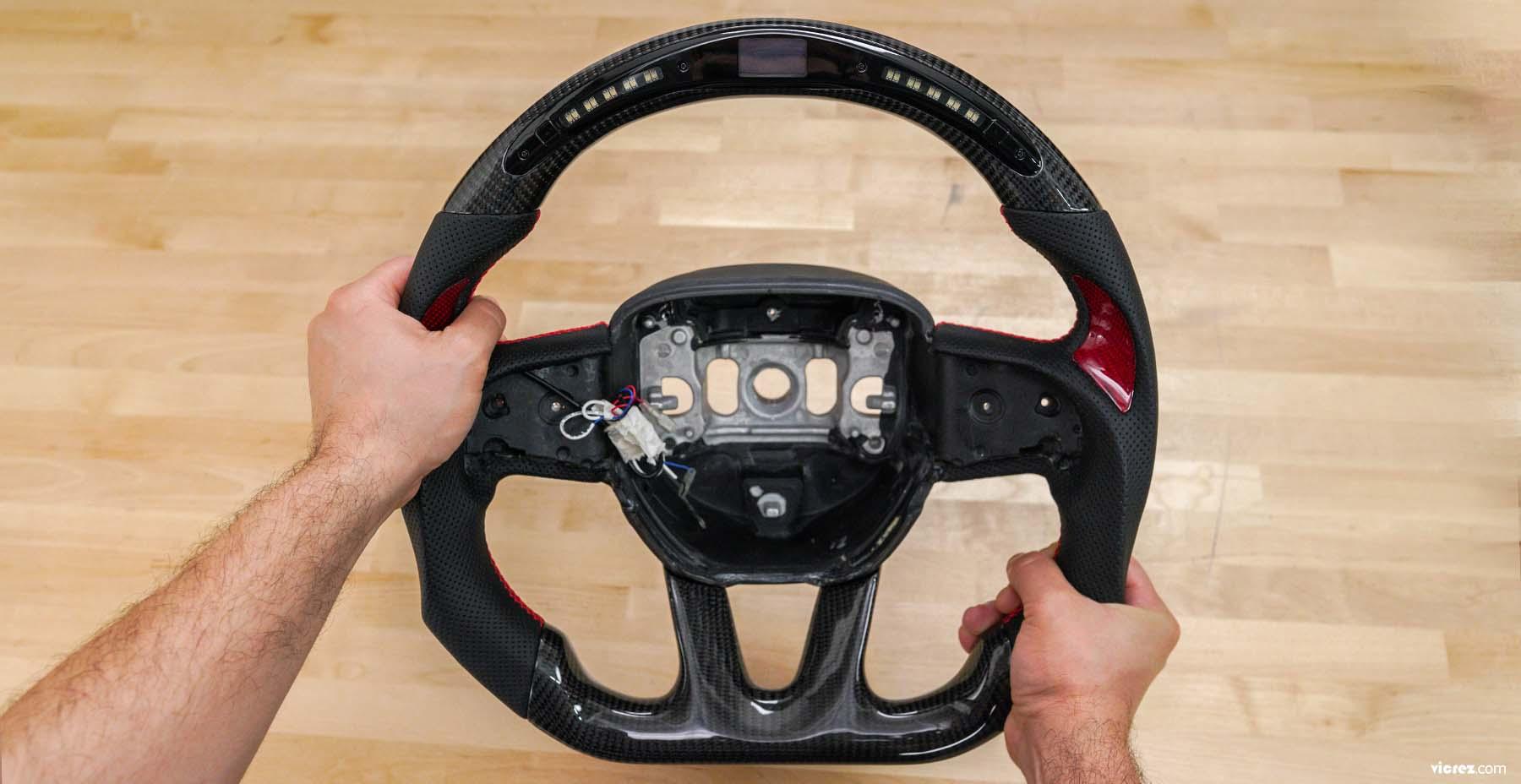 Vicrez Carbon Fiber Steering Wheel +LED Dash Display vz101781 | Dodge Challenger 2015-2020