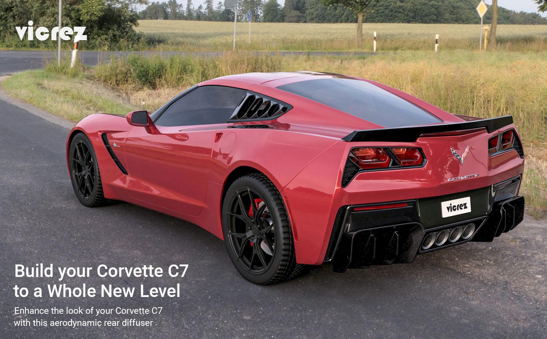 Vicrez Chevrolet Corvette C7 2014-2019 VZ3 Polyurethane Rear Diffuser vz100689