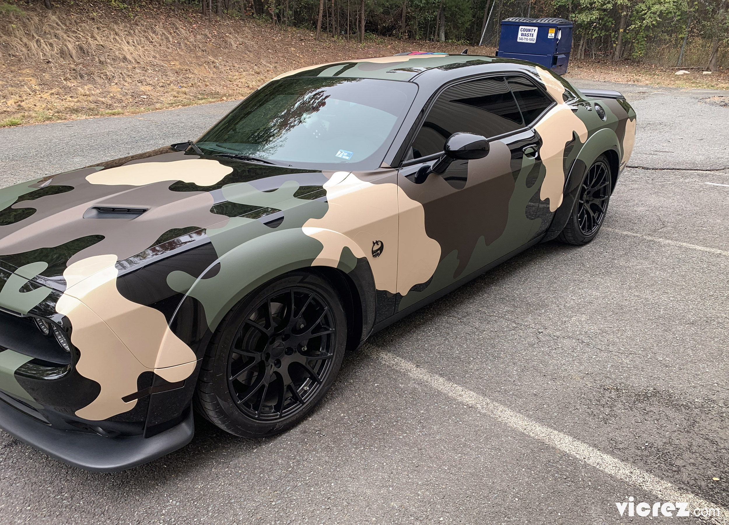 Camouflage Dodge Challenger x Vicrez Wide Body Fender Flares vz101488