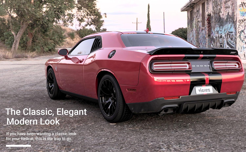 Vicrez Dodge Challenger SRT Hellcat 2015-2018 LV Style Polyurethane Quarter Window Louvers vz100861
