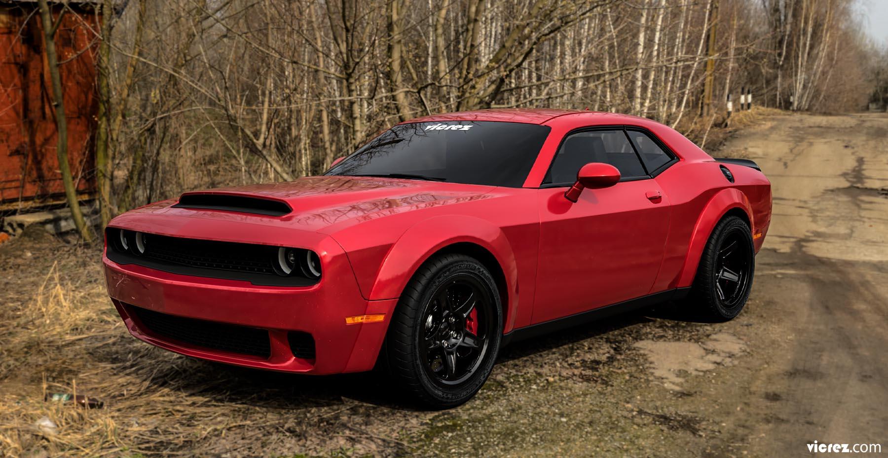 Red Vicrez Hood W/ Air Vent Scoop Demon Style vz102129 | Dodge Challenger 2008-2020