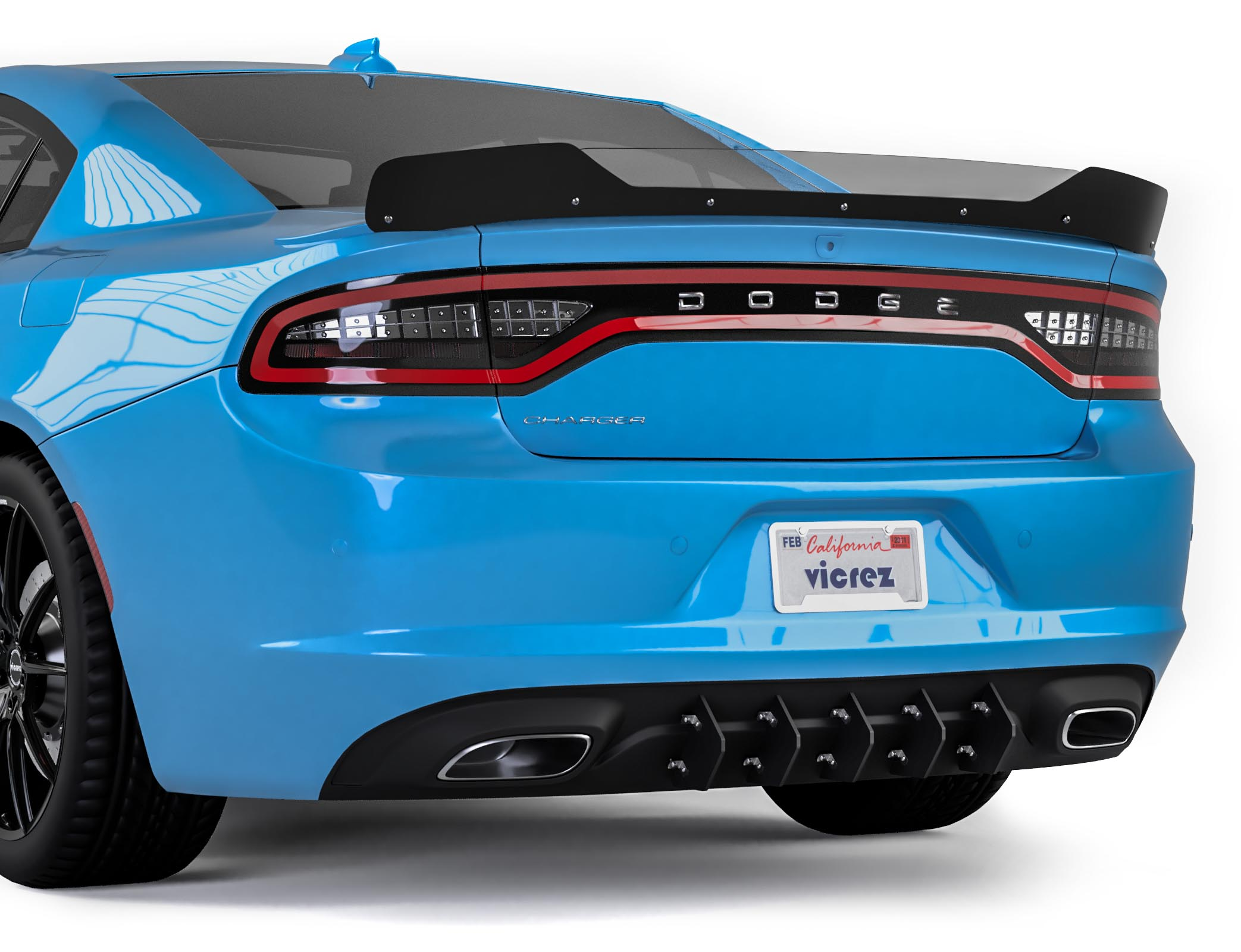Vicrez Lv Style Rear Diffuser Add On Vz101078 Dodge Charger 2015 2020