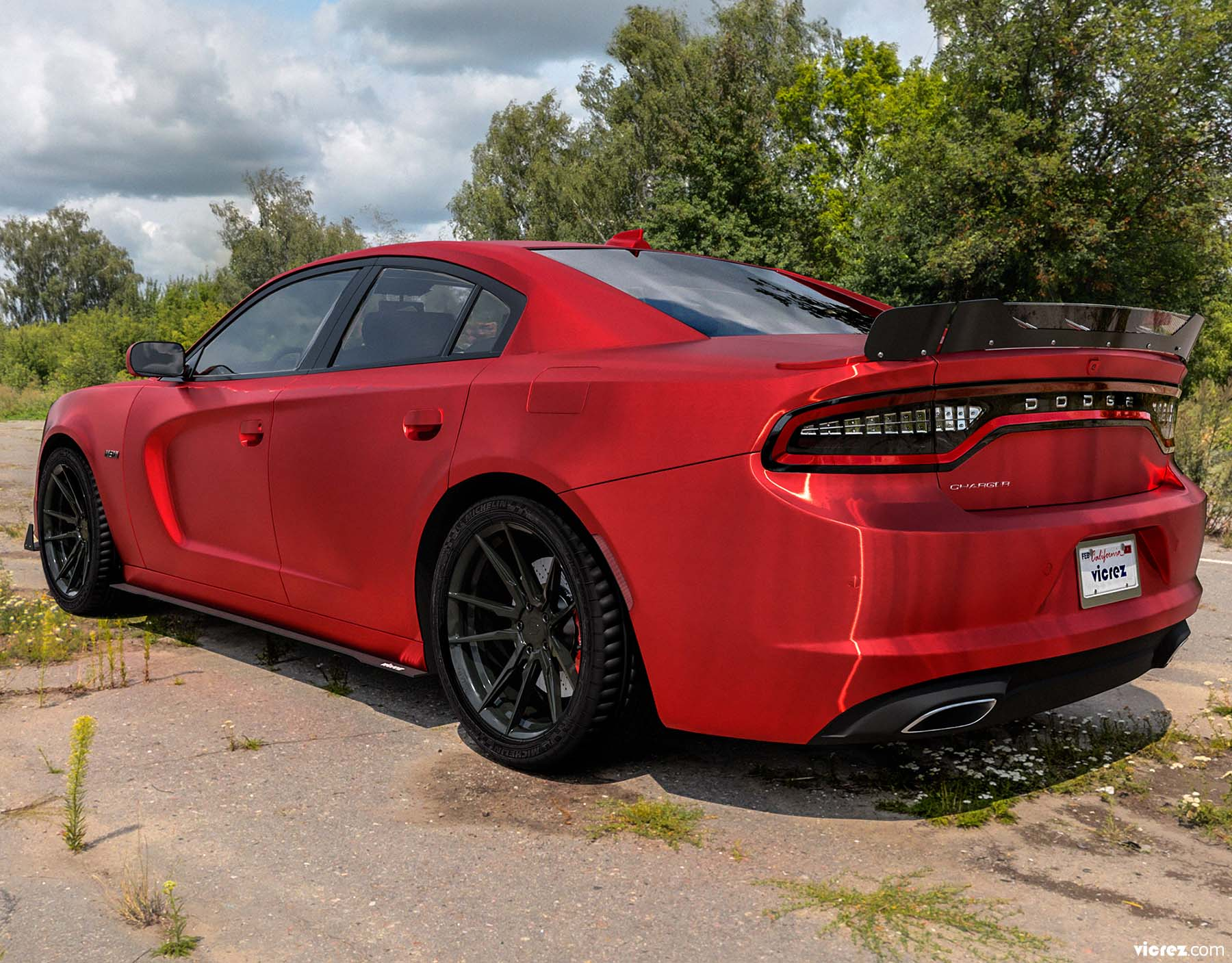 Vicrez V3R Wicker Bill for 3 Piece Spoiler vz102134 | Dodge Charger 2015-2020