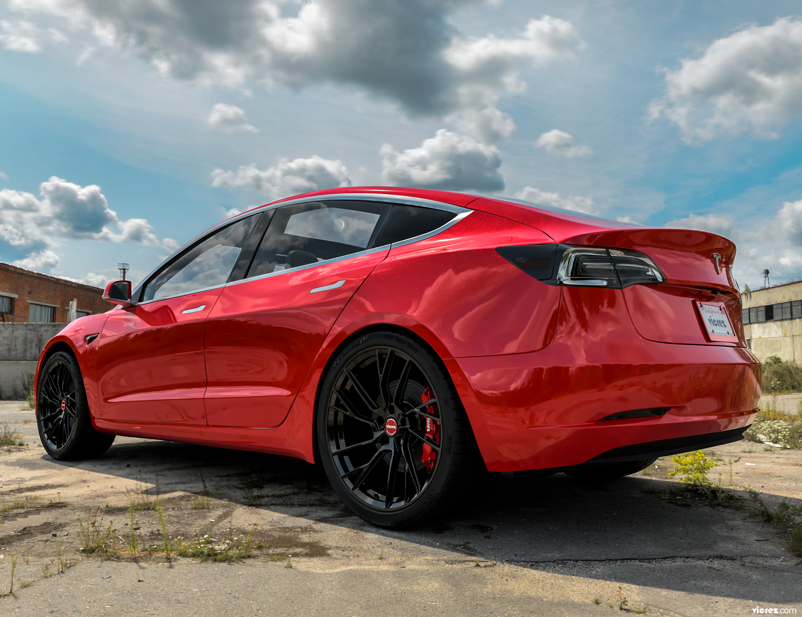 Red Tesla Model 3 x Vicrez VYF Forged Wheels  (Finished in Gloss Black)