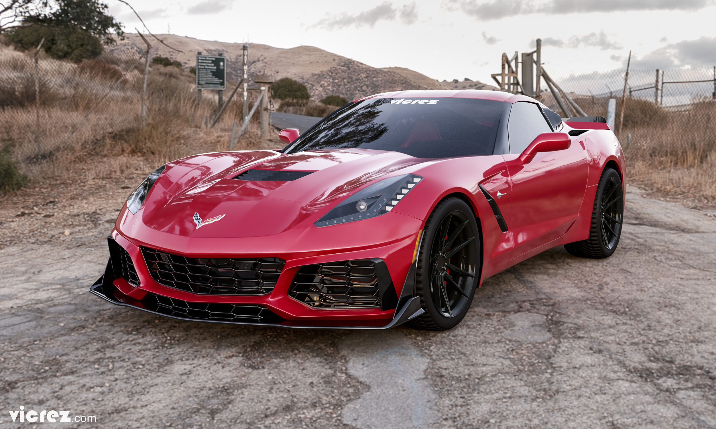 Red Corvette C7 Stingray x Vicrez VZR1 Front Bumper vz101478