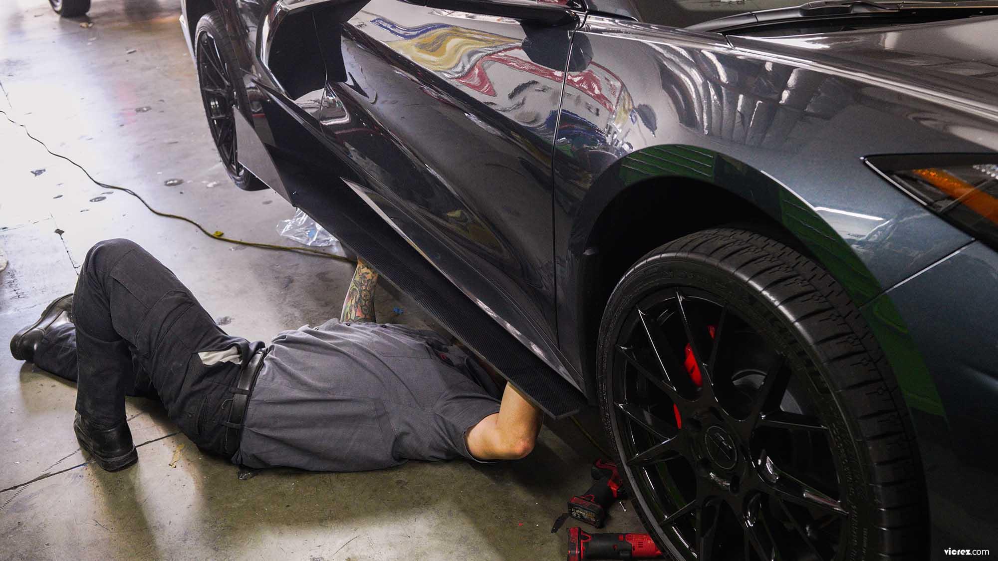 Vicrez VZR1 Front Bumper Lip Splitter vz101671 | Chevrolet Corvette C8 2020-2021
