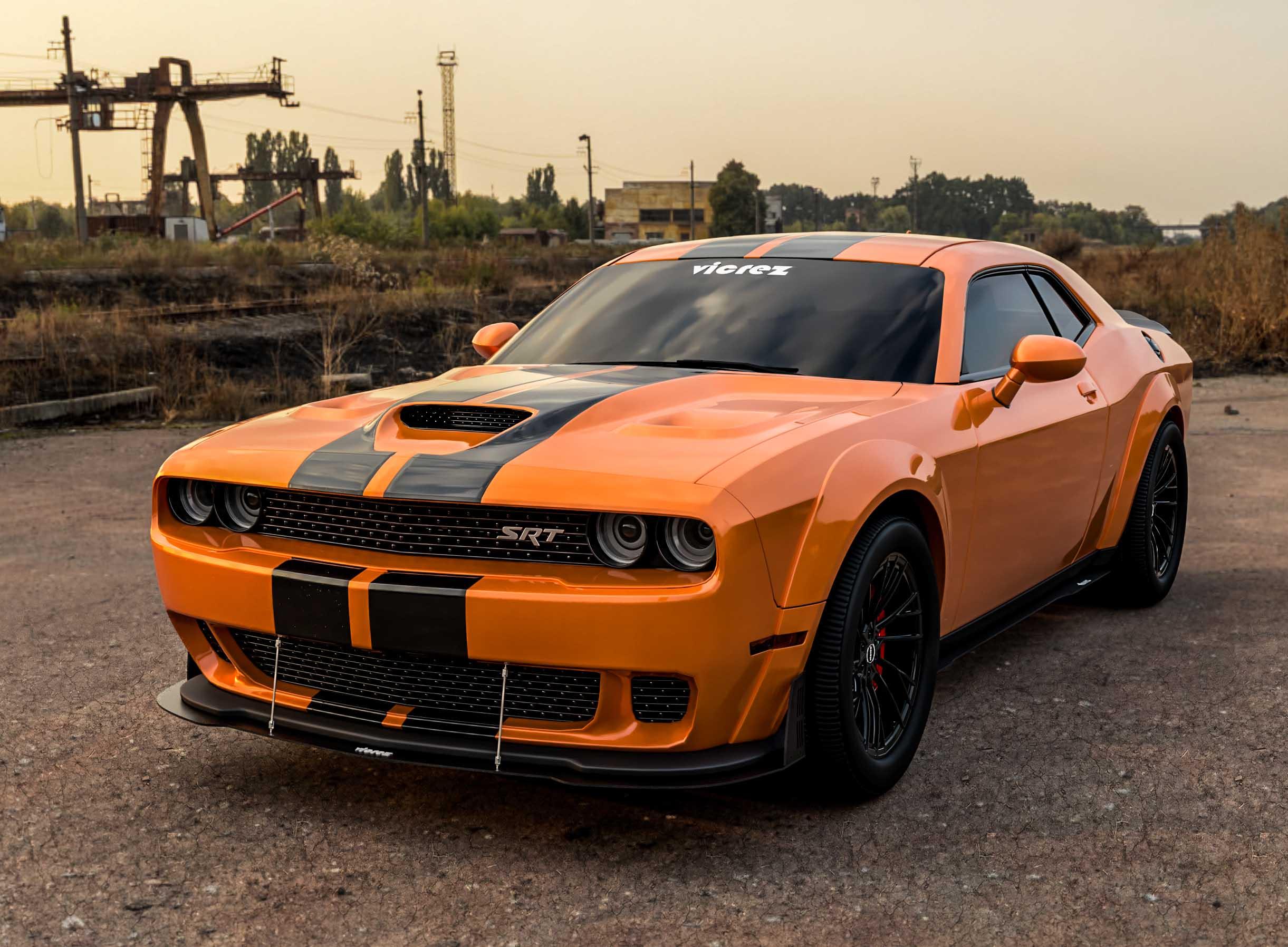 Vicrez Dodge Challenger SRT Hellcat 2015-2017 VZ Style Front Bumper Splitter vz10661