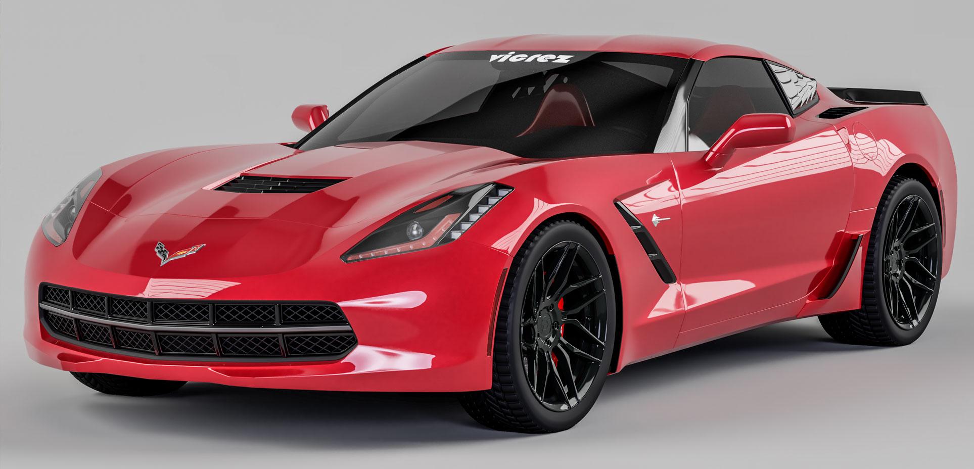 Vicrez Z06 Style Rear Rocker Lower Brake Scoop Vents vz101404   Corvette C7 Stingray 2014-2019