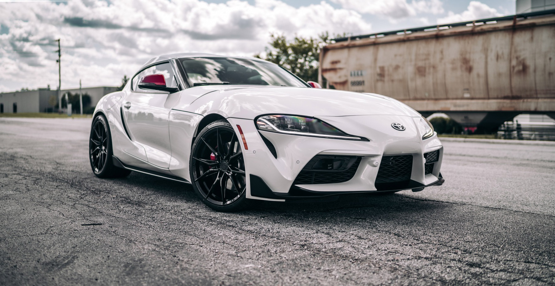 White Toyota Supra x Rohana RFX13 Wheels (Finished in Gloss Black)