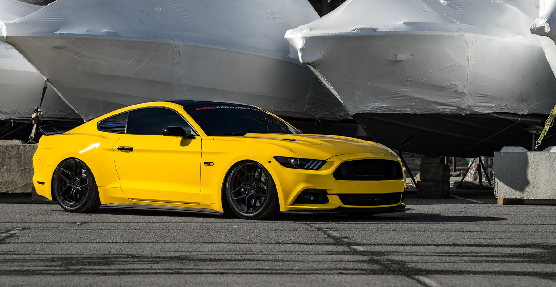 Yellow Ford Mustang GT x Rohana RFX11 Wheels (Finished in Gloss Black)