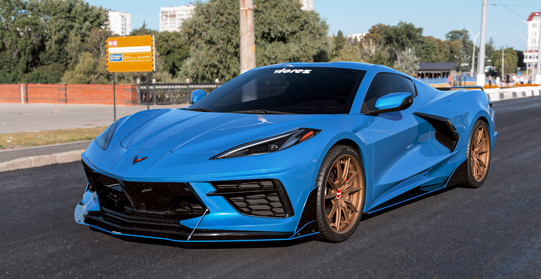 Blue Corvette C8 x Vicrez VSF 3-Piece Forged Wheel vzw1016 in Oscuro Bronze (Satin Clear)