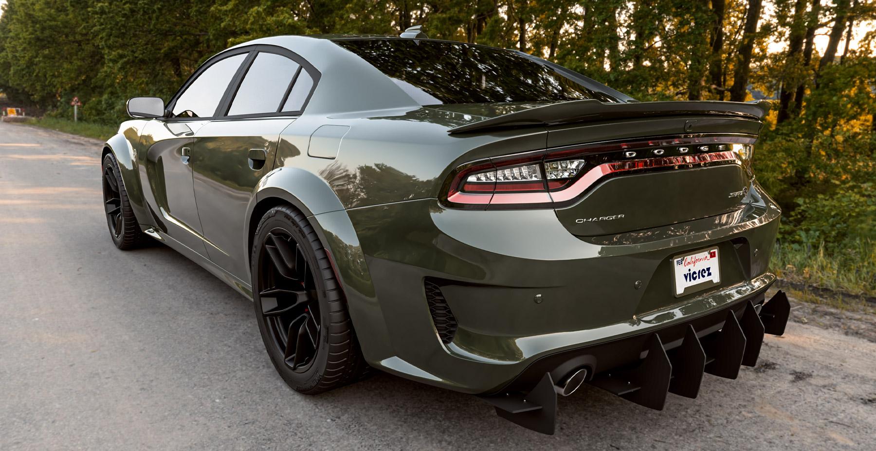 Green Dodge Charger Widebody x Hellcat Redeye Style Widebody Matte Black Wheel