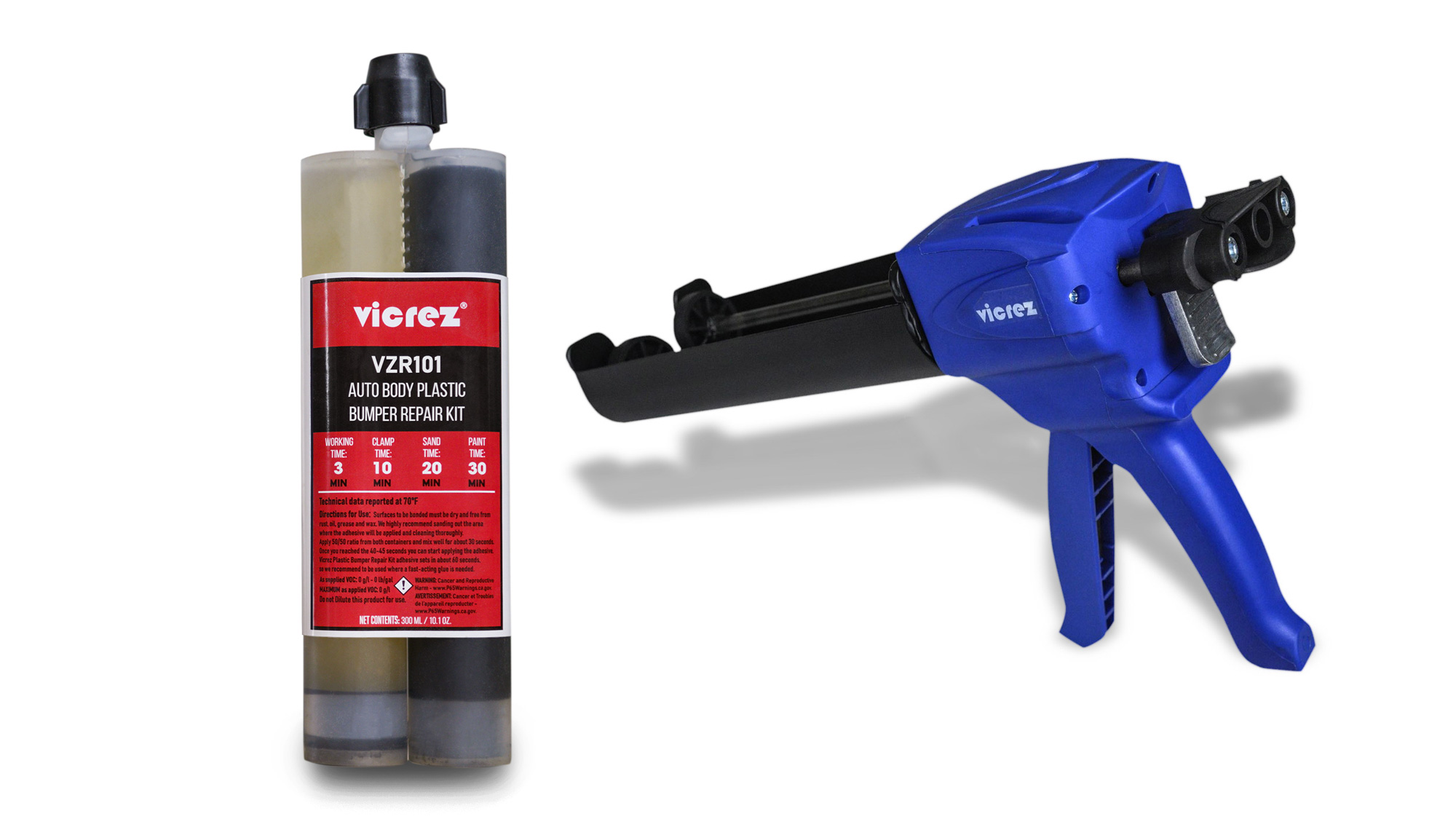 Vicrez vzr101 Auto Body Plastic Bumper Repair Kit w/ Vicrez Caulking Dispensing Gun VZT101
